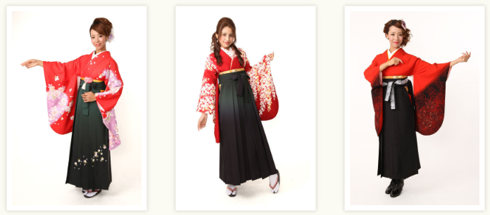 卒業式でレンタルできる赤色の袴スタイル