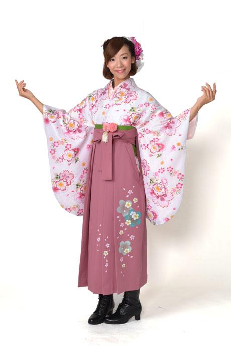 【着物】ピンクに小桜リング小紋+【袴】ピンク友サクラ