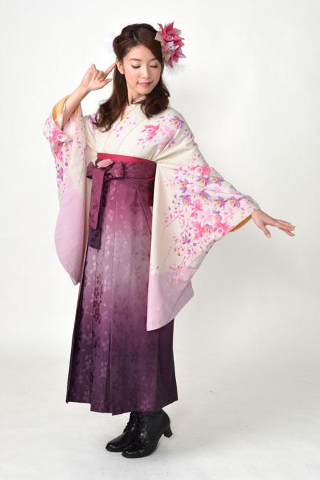 【着物】クリームにピンクラン柄エバ+【袴】総柄アズキボカシ