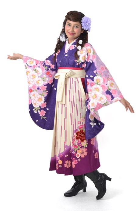 【着物】ムラサキ桜小袖+【袴】ベージュ矢絣ボタン