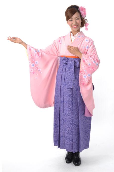 【着物】ピンクサクラ+【袴】JAM総柄ブルー