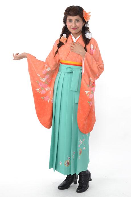 【着物】オレンジボカシ洋花+【袴】ミントグリーン撫子に橘