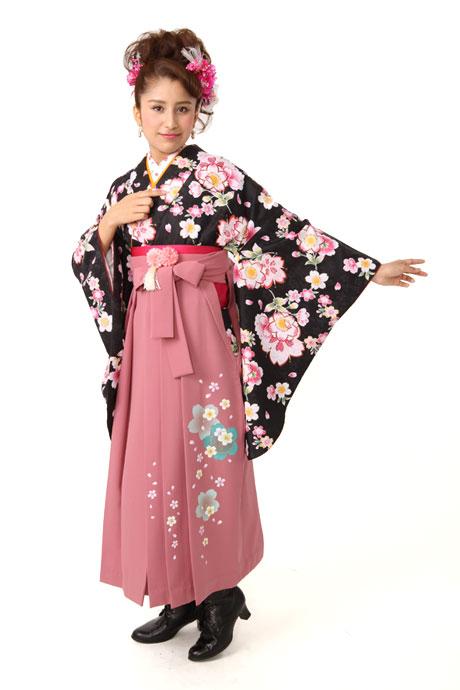 【着物】黒に小桜リング小紋+【袴】ピンク友サクラ