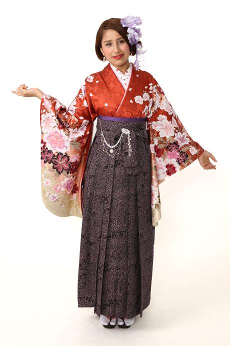 【着物】朱色洋花クリームぼかし小袖+【袴】JAM総柄クロ