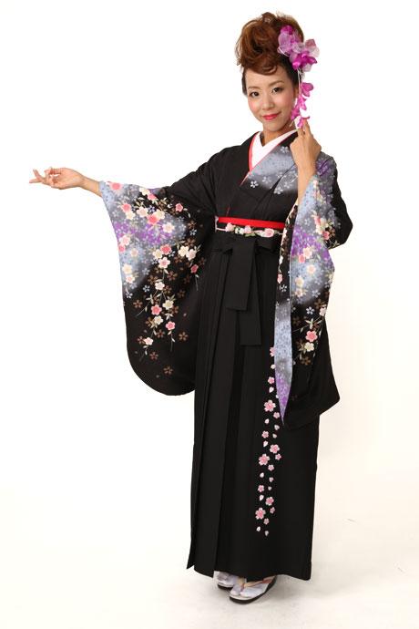 【着物】黒にムラサキシダレザクラ+【袴】JAMシシュウブラック