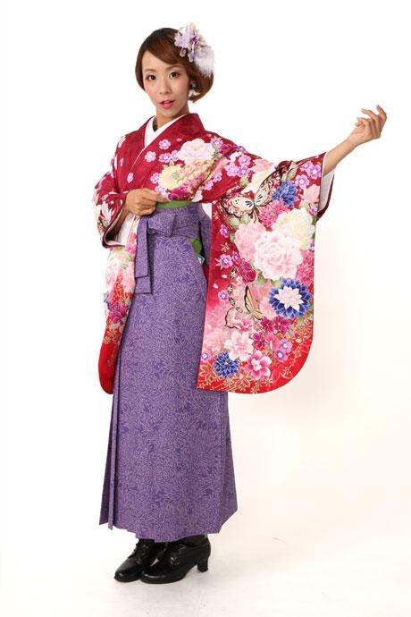 【着物】ワイン蝶・バラぼかし+【袴】JAM総柄ブルー