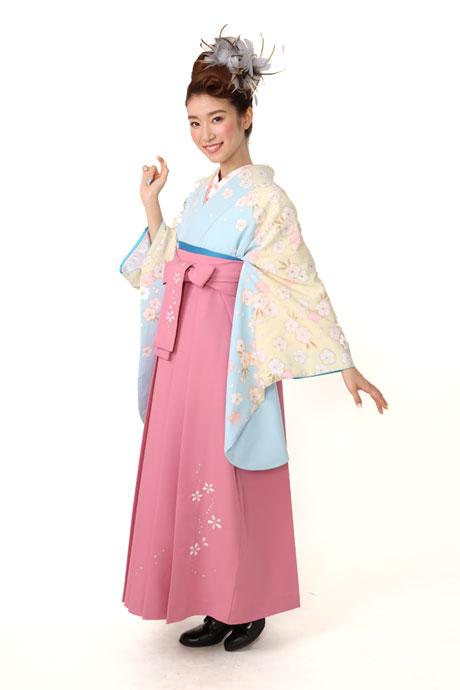 【着物】ブルーベイジュかのこサクラ小袖+【袴】ピンクシシュウ桜