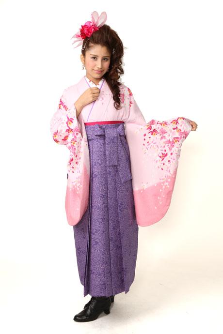 【着物】ピンクラン柄エバ+【袴】JAM総柄ブルー