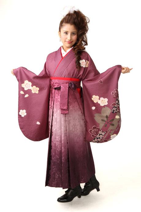 【着物】ムラサキ桜小袖+【袴】総柄アズキボカシ