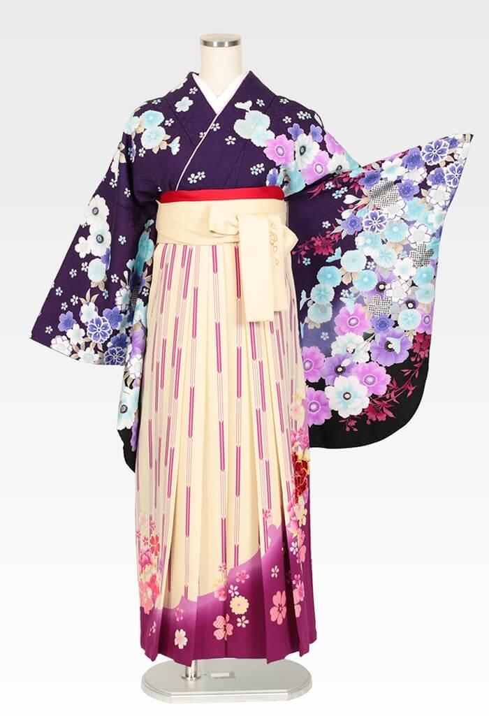 【着物】anan紫地アネモネ&さくら+【袴】ベージュ矢絣牡丹