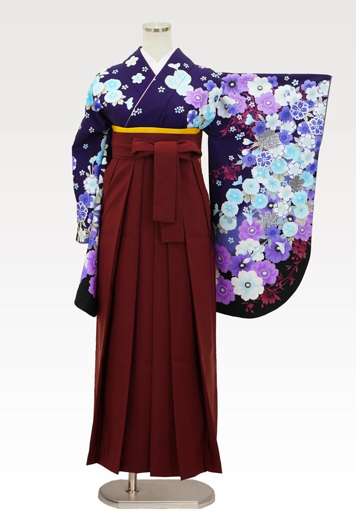 【着物】anan紫地アネモネ&さくら+【袴】エンジ