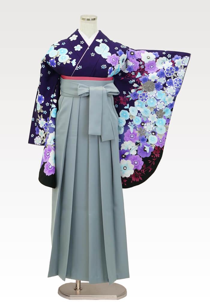 【着物】anan紫地アネモネ&さくら+【袴】ホワイトグレー