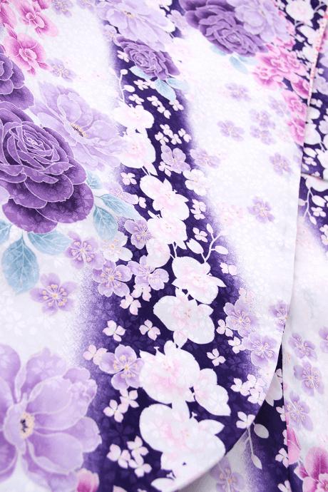 レンタル着物:HL白×紫バラに蘭詳細