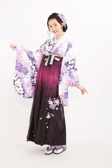 HL白×紫バラに蘭とHL紫ぼかしバラ刺繍のサムネイル