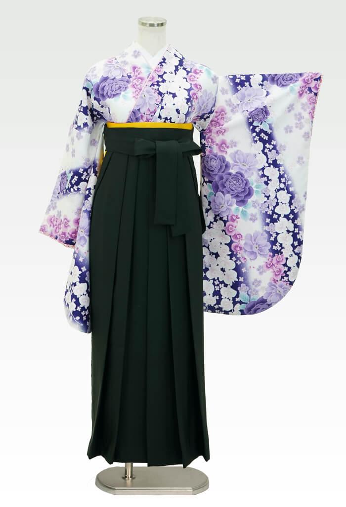 【着物】白×紫バラに蘭+【袴】フカミドリ