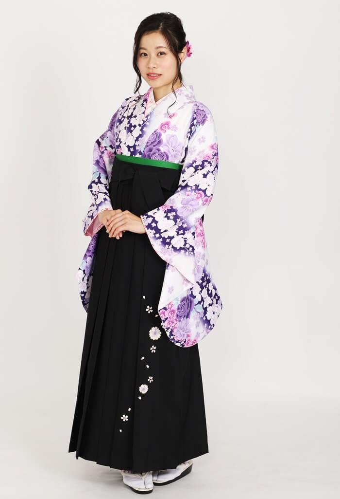 【着物】白×紫バラに蘭+【袴】クロ友ヤエザクラ