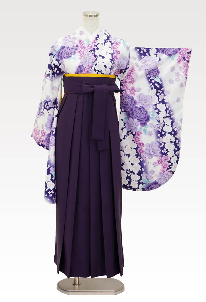 【着物】白×紫バラに蘭+【袴】ムラサキ