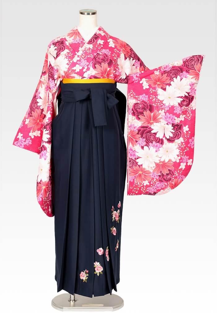 【着物】ピンクバラにコスモス+【袴】コンローズシシュウ