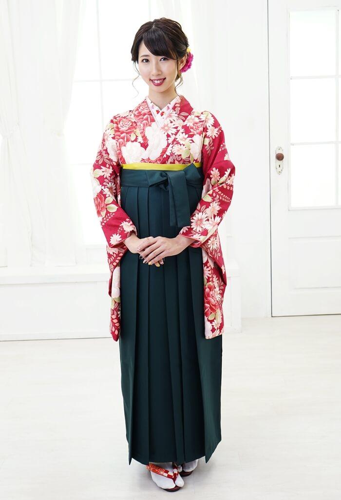 【着物】HL赤字バラに藤+【袴】フカミドリ