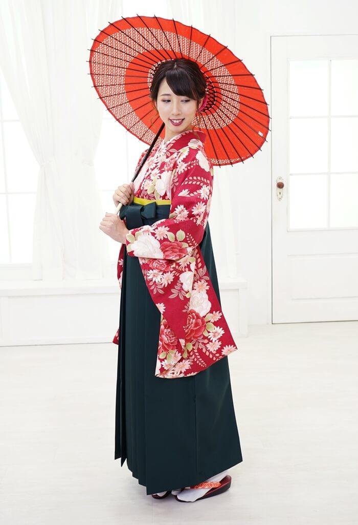 卒業式にネットで安くレンタルできる【着物】HL赤字バラに藤+【袴】フカミドリ