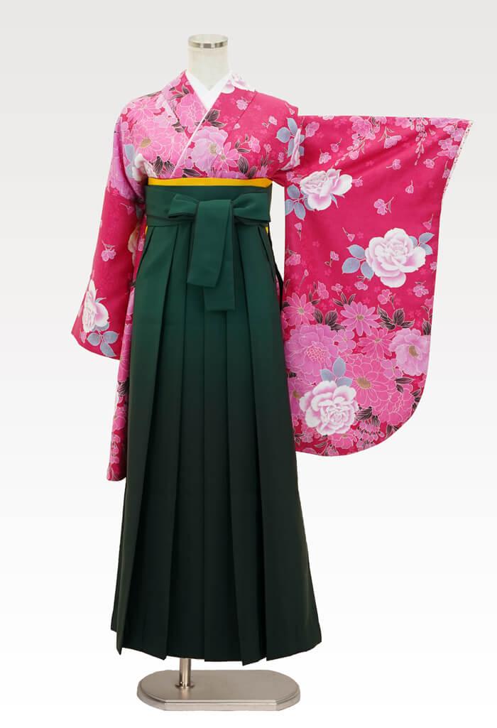 【着物】ピンク地牡丹とばら+【袴】フカミドリボカシ