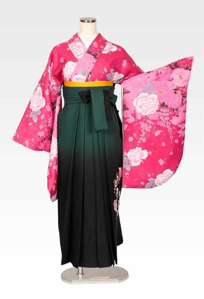 【着物】ピンク地牡丹とばら+【袴】グリーンボカシバラ刺繍