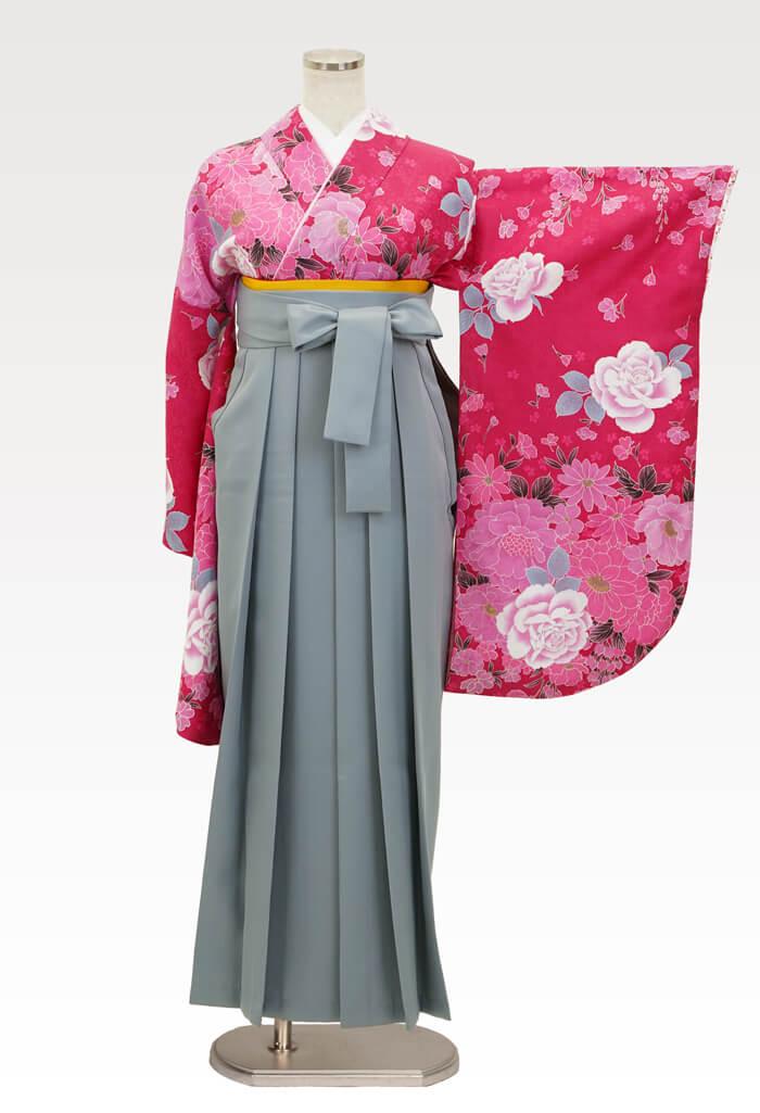 【着物】ピンク地牡丹とばら+【袴】ホワイトグレー