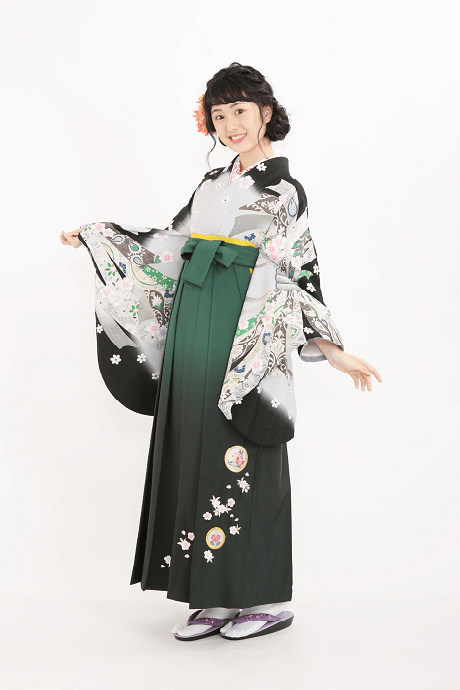 レンタル着物:グレーのしめ桜+レンタル袴:グリーンボカシ撫子に橘の全体画像