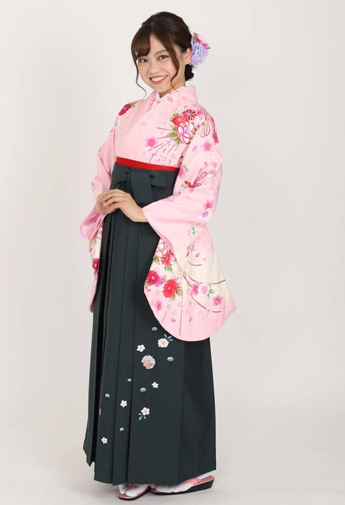 【着物】ピンク桜ブーケ+【袴】フカミドリ友疋田桜