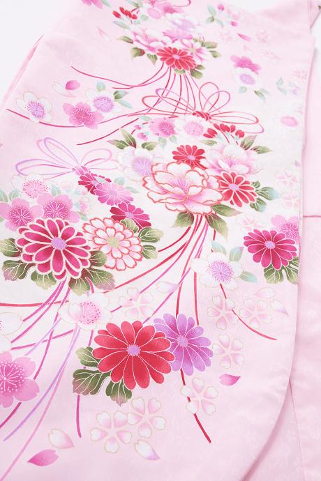 レンタル着物:ピンク桜ブーケ詳細