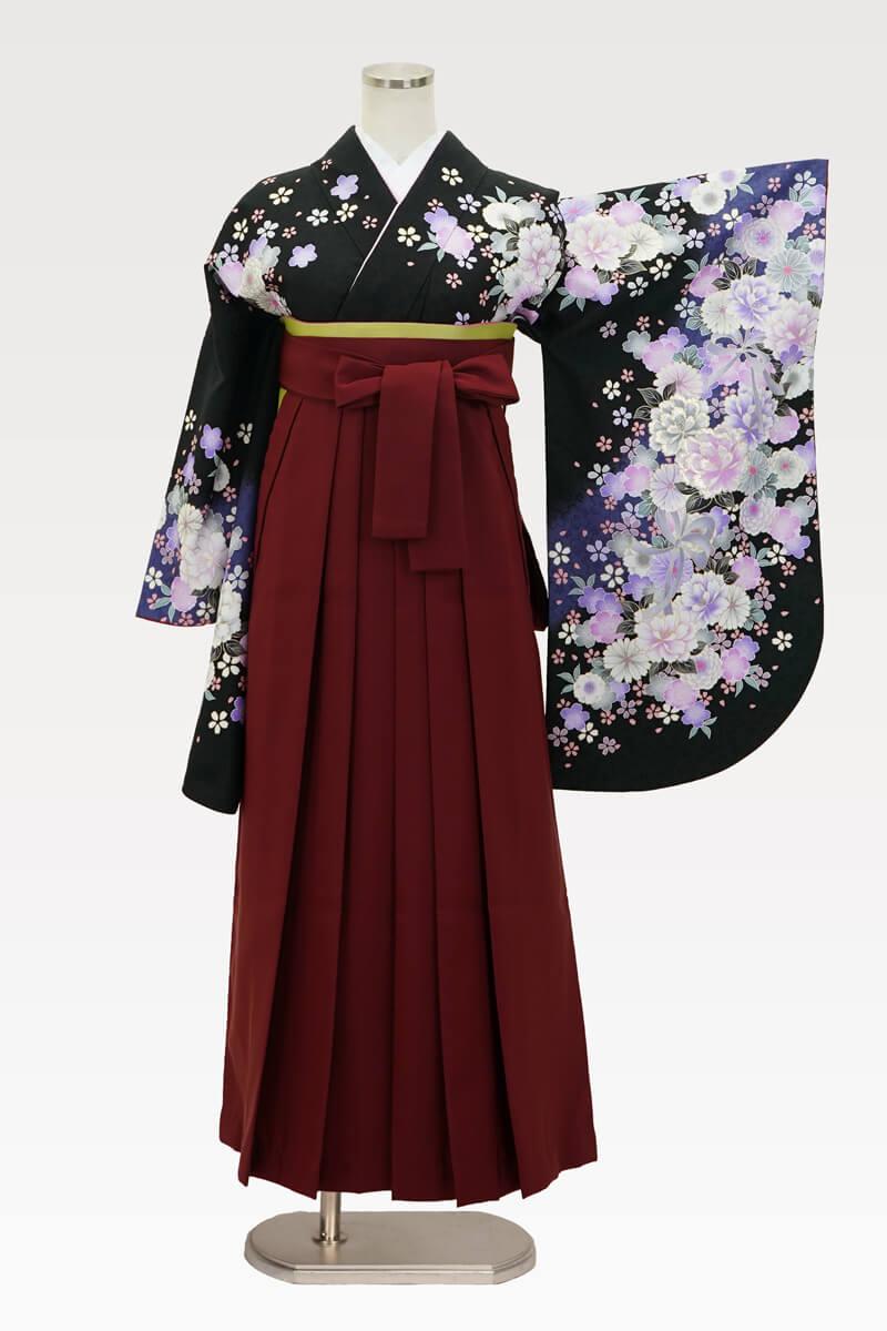 【着物】黒桜地牡丹にリボン+【袴】エンジ