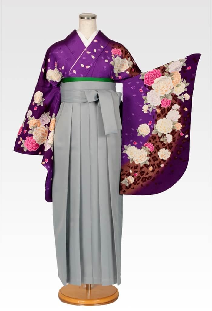 【着物】紫ラメバラ吹雪+【袴】ホワイトグレー