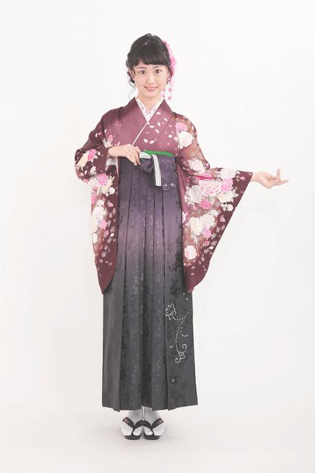 レンタル着物:茶ラメバラ吹雪+レンタル袴:HL紫ぼかしスワロ桜地の全体画像