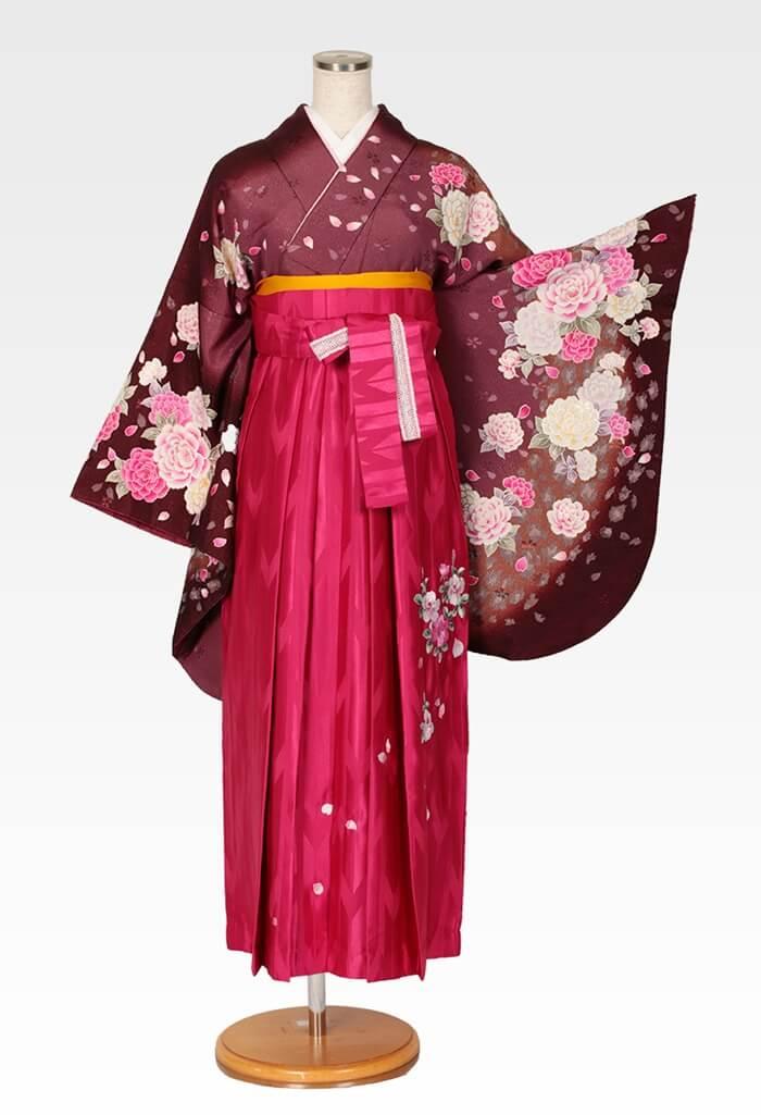 【着物】茶ラメバラ吹雪+【袴】ピンクバラ刺繍