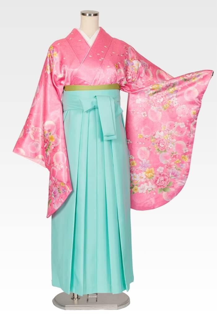 【着物】ピンクシャボン+【袴】エメラルドブルー