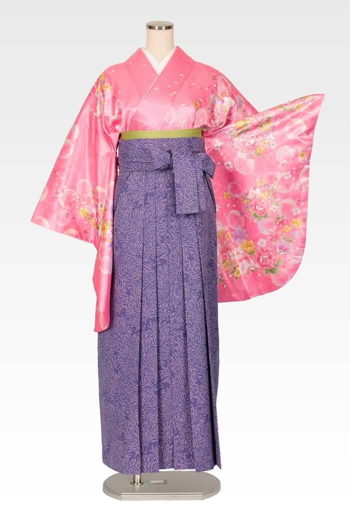 【着物】ピンクシャボン+【袴】総柄ブルー