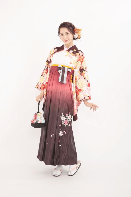 anan白×茶バラつくしとHL赤茶ぼかしバラ刺繍のサムネイル