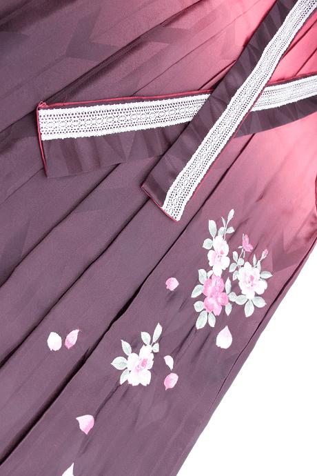 レンタル袴:HL赤茶ぼかしバラ刺繍詳細