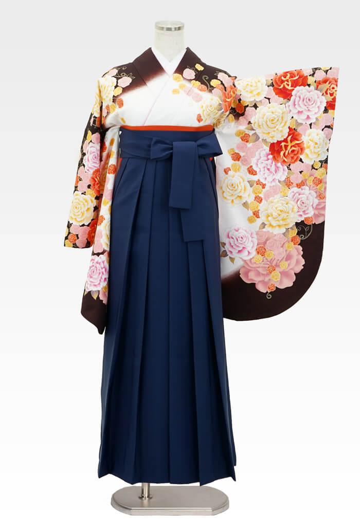 【着物】anan白×茶バラづくし+【袴】コン
