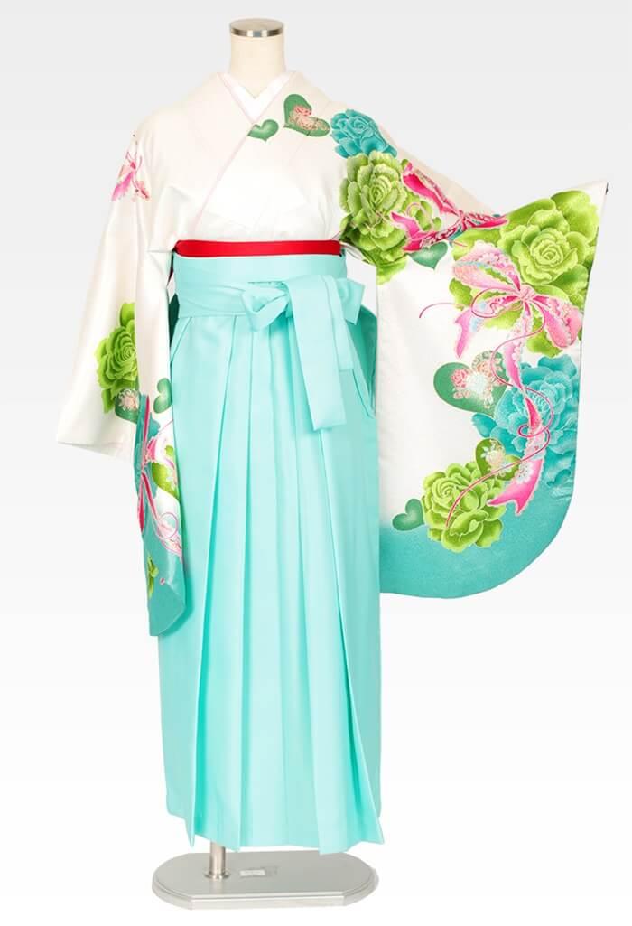 【着物】白地グリーンハートバラ+【袴】エメラルドブルー