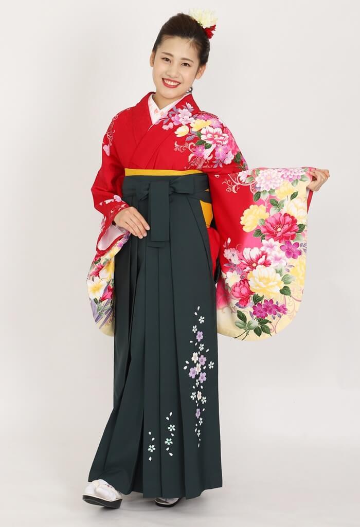 【着物】ハナエモリ赤地四季花色どり+【袴】フカミドリ友シダレザクラ