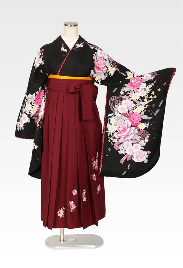 【着物】黒地レースハートリボン+【袴】エンジローズ刺繍