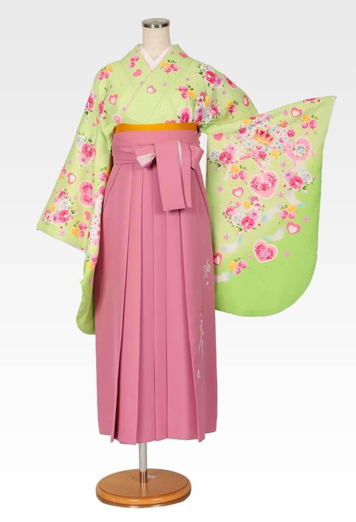 【着物】パステルグリーンハート王冠+【袴】ピンクレースリボン