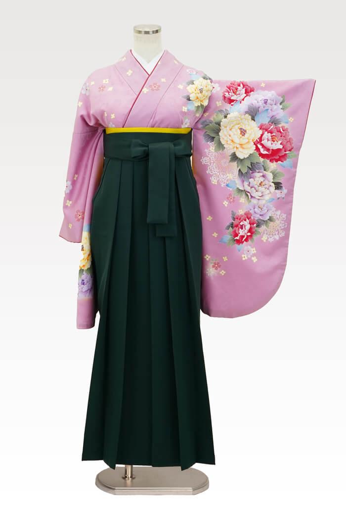 【着物】ピンク地牡丹華紋+【袴】フカミドリ