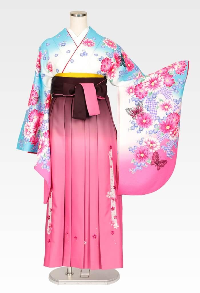 【着物】スザンヌ白地ブルーピンクぼかしレース蝶+【袴】ピンクボカシレース桜