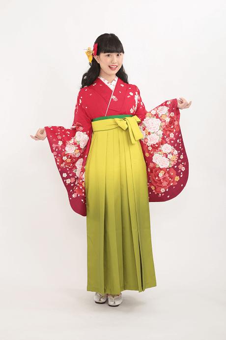 レンタル着物:ananバラ赤72cm+レンタル袴:キイロボカシの全体画像