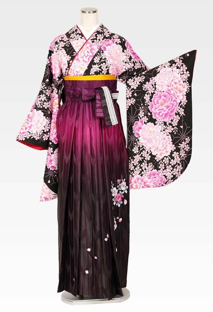 【着物】洋花づくしブラック+【袴】紫ぼかしバラ刺繍