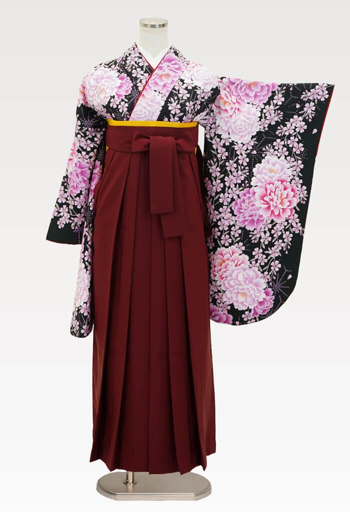 【着物】洋花づくしブラック+【袴】エンジ