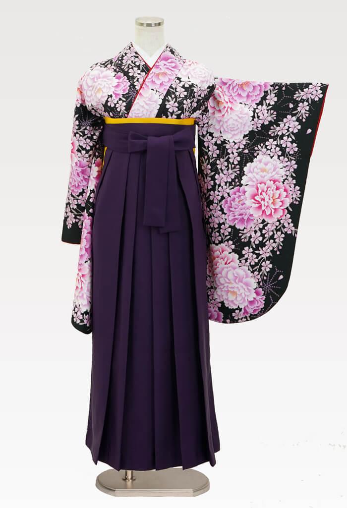 【着物】洋花づくしブラック+【袴】ムラサキ