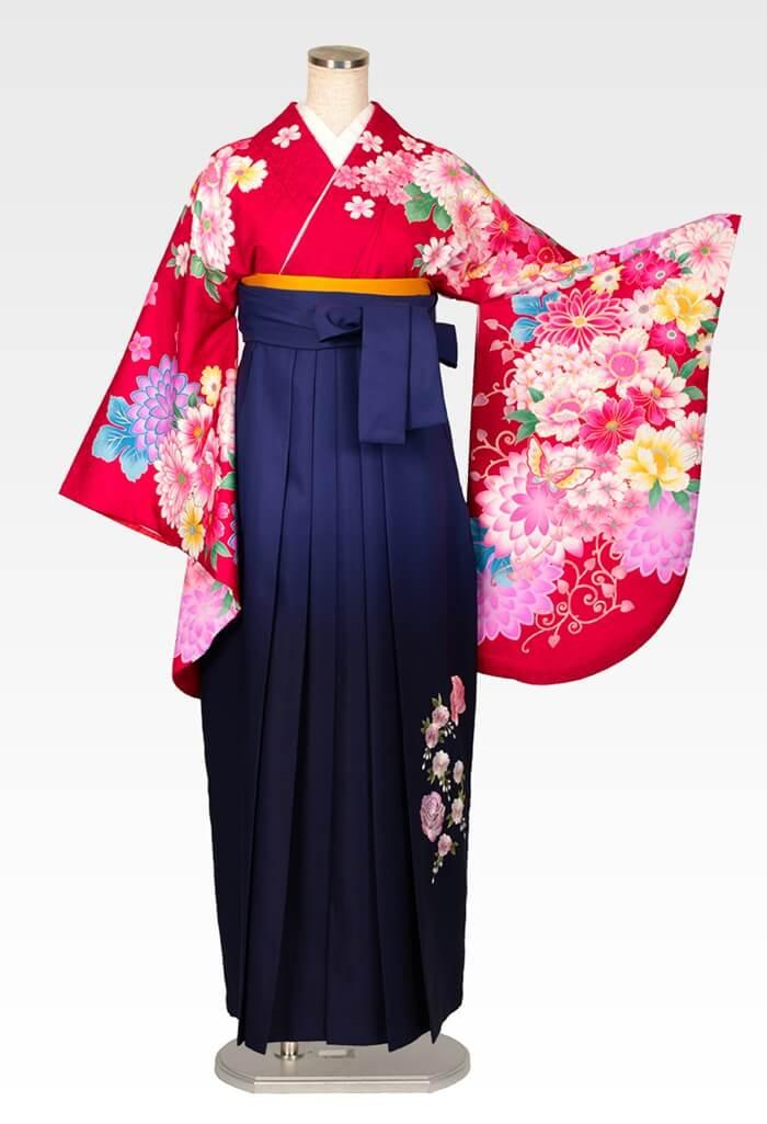 【着物】赤地ダリアに蝶+【袴】コンボカシバラシシュウ